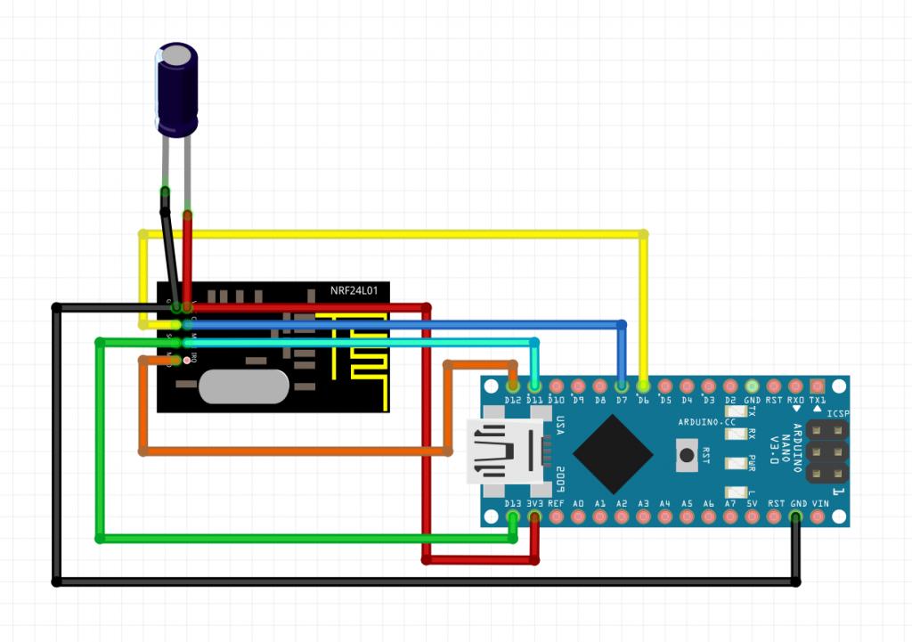 Anschlussbild nRF24L01 an Arduino Nano mit Elko