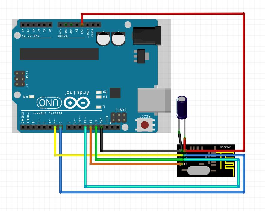 Anschlussbild nRF24L01 an ArduinoUNO mit Elko