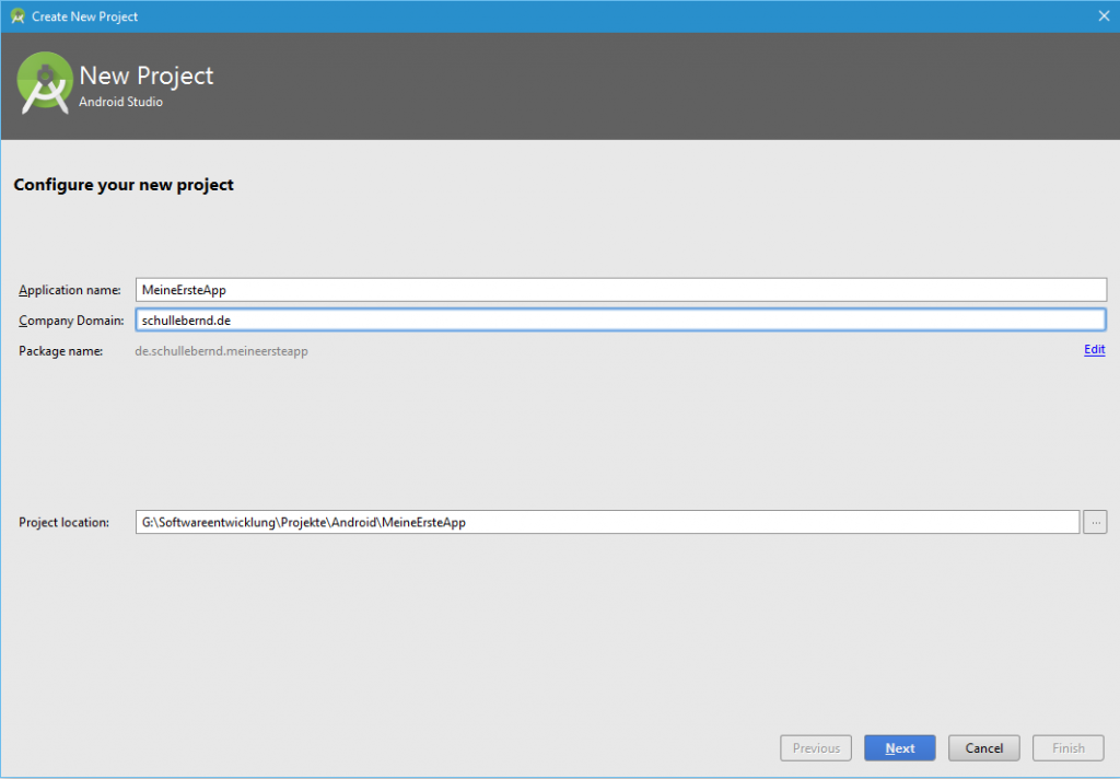 Android Studio Neues Projekt anlegen