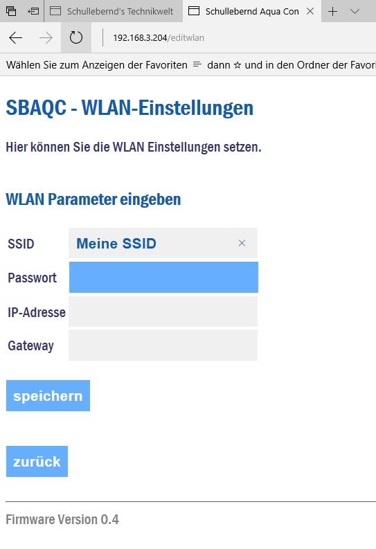 SBAQC WLAN-Einstellungen