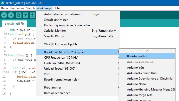 Arduino Boardverwalter öffnen