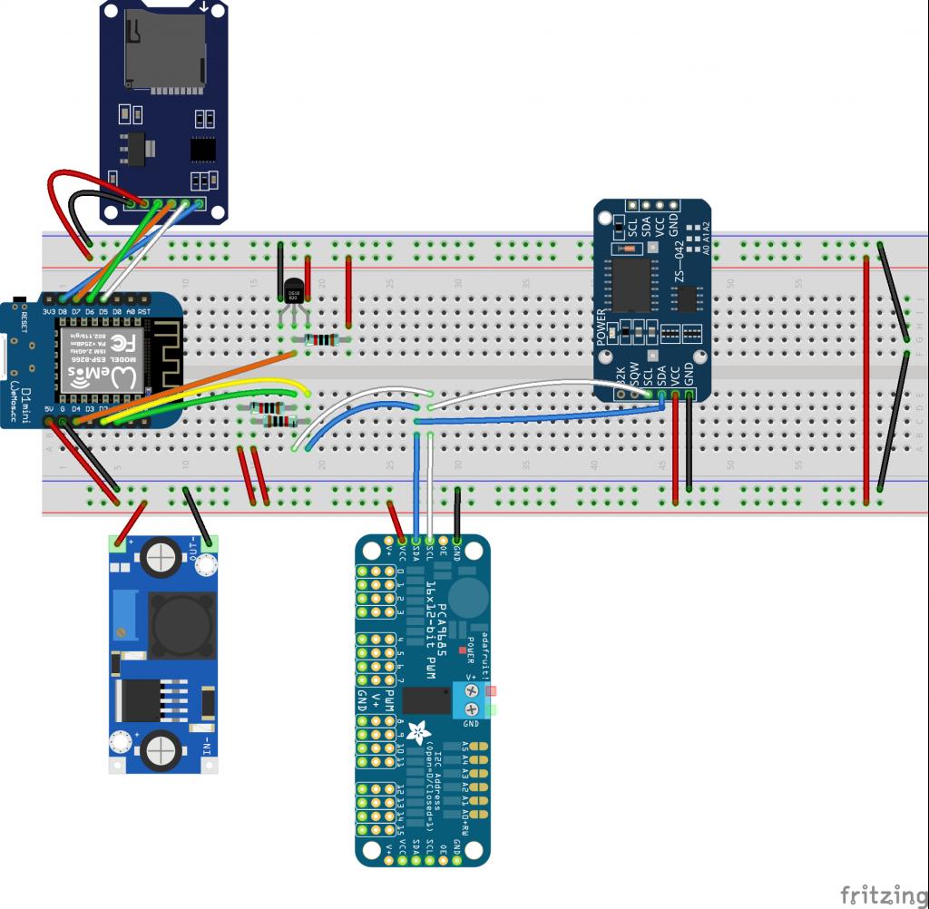 Testaufbau Steckbrett Schullebernd Aqua Control ohne PWM Modul.